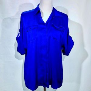 The Limited Blue Blouse with Roll-Tab Sleeves (M)